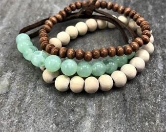 Beaded Bracelets, Stacked Bracelets, Stack Bead Bracelets, Three Stackable Bracelets, Gifts for Her, Set Of Three, Wood Beaded Bracelets