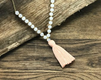 Beaded Tassel Necklace | Gold Chain Necklace, White Bead Necklace, Pink Tassel Necklace | Boho Earthy Beaded Tassel Necklace