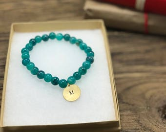 Personalized Initial Bracelet | Initial Charm Bracelet, Custom Initial Bracelet, Blue Bead Bracelet, Monogram Initial Bracelet