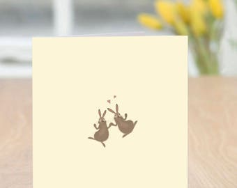 Bun-gee Jump - Cute and Quirky Rabbit Card (Blank Inside/Any Occasion)