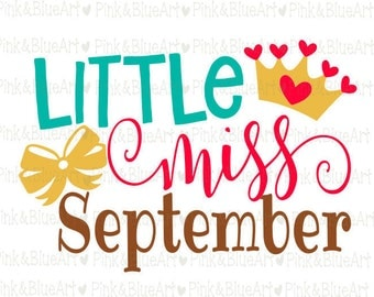 Little Miss September SVG Clipart Cut Files Silhouette Cameo Svg for Cricut and Vinyl File cutting Digital cuts file DXF Png Pdf Eps