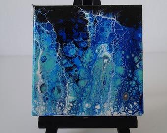 A Little Lightning 3 x 3 inch acrylic painting on mini canvas