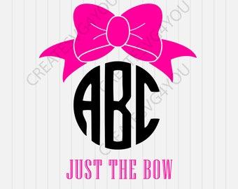 Bow Circle Monogram Svg, Bow Svg, Just the bow, Monogram Frame Svg, Silhouette Cut Files, Cricut Cut Files, Svg Cut Files