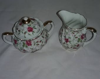 Lefton  Creamer and Sugar Bowl, Hand painted  Pink Roses Green Leaves and Gold Trim,