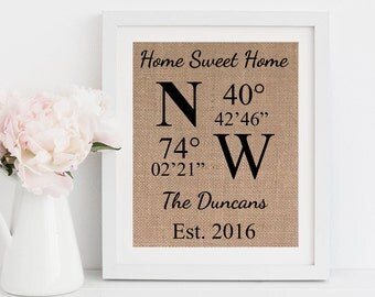 New Home Gift Latitude Longitude Coordinates Burlap Print