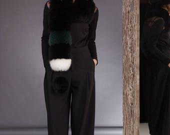 Multi Stripe Fox Fur Scarf With Pinnable Pom-Pom And Fox Fur Hat