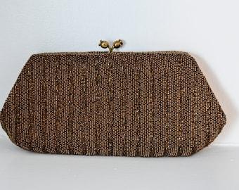1950s Vintage Brown Hand-Beaded Clutch