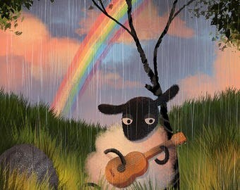 Sheep Playing a Guitar In the Rain