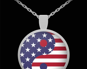 American Flag Yin Yang Pendant - Silver Plated Necklace - Free Shipping