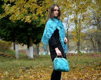 Women felted set Turquoise set Turquiose felt purse Wool bag Wool silk scarf Spring light scarf Elegant silk scarf Women felted scarf