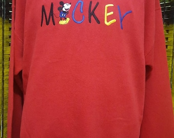 Vintage MICKEY MOUSE / Embroidered big logo spell out / very nice sweatshirt (A11)