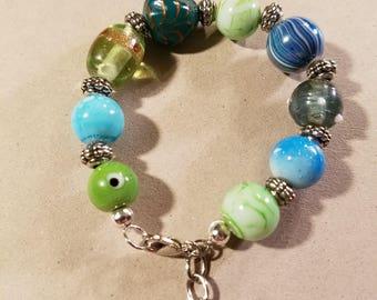 Beaded Charm Bracelet, Blue and green beaded charm bracelet