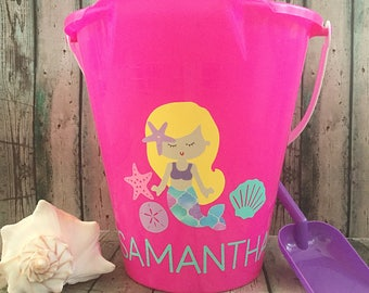 Personalized Beach Bucket - Personalized Sand Bucket - Monogrammed Bucket - Sand Bucket - Beach Pail - Mermaid - Party Favor - Beach Toy
