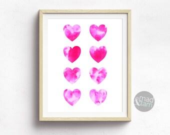 Pink Wall Art, Heart Wall Decor, Watercolour Print, Printable Pink Wall Art, Printable Art, Girly Room Decor, Girly Gifts, Love Print