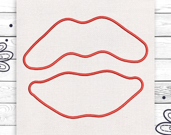 Lips embroidery Discount 10% Digital embroidery design 4 sizes Tumblr INSTANT DOWNLOAD EE5084