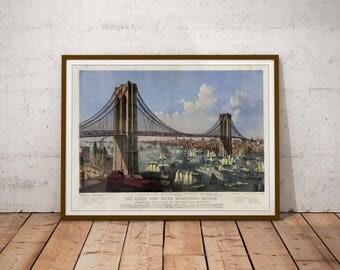Vintage poster / Vintage art print / Lithograph print / American art print / American drawing / Brooklyn Bridge / New York print