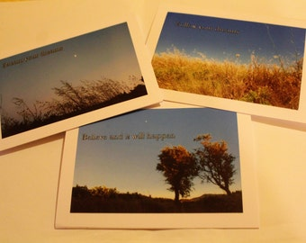 Set of three inspirational photo cards -