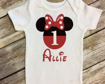 Red or Pink Minnie Mouse First Birthday Bodysuit, Disney Minnie First Birthday One, Minnie Birthday Ones