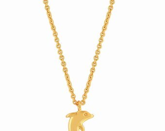 Dolphin Necklace Gold. Dolphin Pendant Necklace. Dolphin Charm