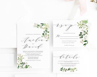 Greenery Wedding Invitation,  Minimal Wedding Invitation, Leaves Wedding invitations,  Floral Greenery Wedding Invitation, Wedding Suite 004