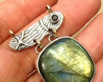 Sterling Silver Pendant with 14k yellow gold accents, Labradorite  and Onyx Stones, Handmade.