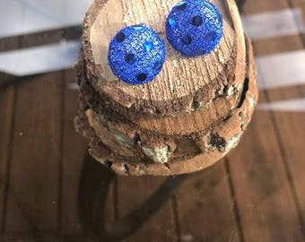 Blue Sparkle Fabric Button Earrings