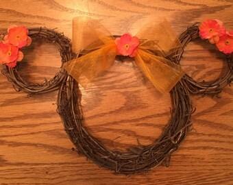 Disney Fall Wreath| Disney Autumn Wreath| Mini Disney Floral Wreath| Mini Disney Fall Wreath