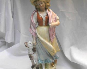 girl with dog, figurine/antique/Wallendorfer/Kaempfe & Heubach/ bisque