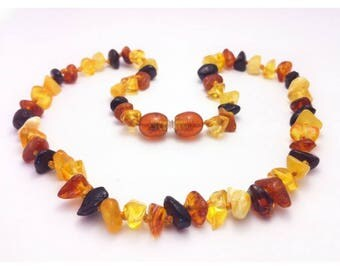 Genuine Baltic Amber Baby Teething Necklace Mixed Random Shape Beads