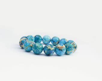 Trendy Modern Men Accessory Blue Imperial Jasper Beads Bracelet