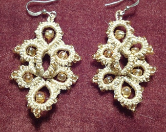 "Hand-Tatted Beaded Earrings ""Golden Autumn"" – Romantic, Bridal, Vintage, Retro, Wedding, Antique, Aristocratic"