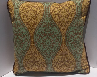 Green and Brown print pillow cover with Brown Leather Welt 20x20