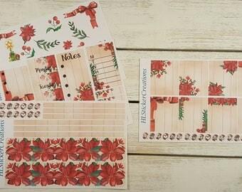 Christmas Erin Condren Weekly Kit, December, winter, Poinsettia, Christmas Tree