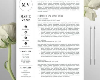 Creative Resume Template, CV Template, Cover letter, Word, Professional Resume, Modern Resume Design, Instant Digital Download, Marie