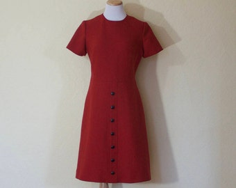 1960's couture burnt orange wool mod dress