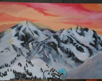 Snowy Mountains Acrylic Painting