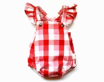 Red Check Playsuit with Flutter Sleeves, Romper, Baby Girl, Ruffle Sleeves, Red Gingham, Cotton Jumper, Jumpsuit, One Piece, All in One