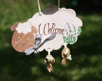 Ceramics Sheep, welcome sign,Home made, Outdoor decoration, House warming gift