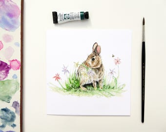 Bunny Rabbit Blank Greeting Card - 'Hungry Bunny'