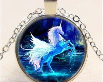 Moonlight Unicorn Photo Cabochon Glass Tibet Silver Chain Pendant Necklace - d26
