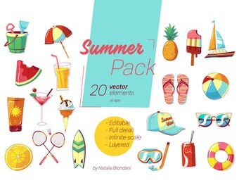 Summer Pack - 20 Vector Elements