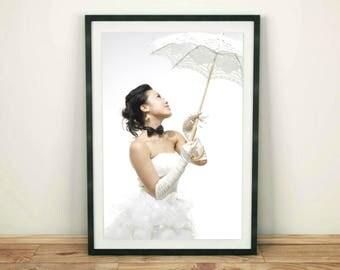 Woman Print, Fashion Model Print, Fashion Model, Fashion Decor, Black and White Print, Modern Art Print,Fashion Poster,Woman with Umbrella