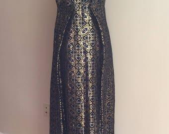 Elegant 1960's  Vintage Royal/Black/Gold Metallic Brocade Evening Gown/Empire Waist