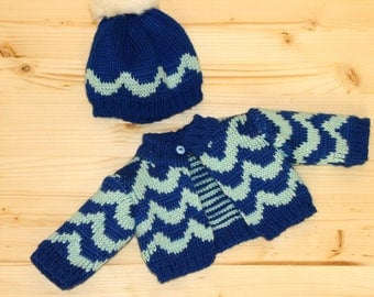 Knitted Set Blue Sweater Hat with pompom For 18 Inch Doll Clothes Garb Waldorf Doll Clothing Gift For Girl Doll winter sweater striped