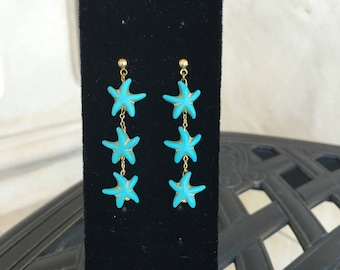Turquoise Starfish Earrings by Dobka