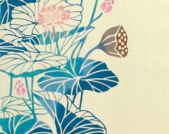 "wagara wamon Tenugui japanese towel Lotus flower 13 ""wide and 35.4 ""long cotton100% traditional classic crest"