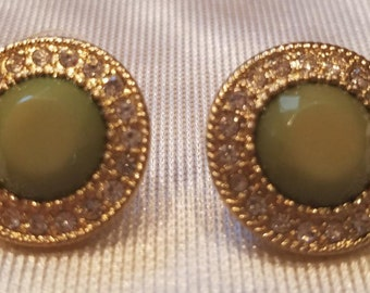Vintage-Green-Circle- Studded Earrings- Rhinestones-jewelry-costume jewelry