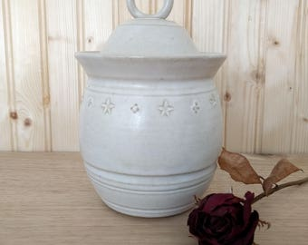 Stoneware Jar with Lid, Rustic White Stoneware Jar, Handmade Ceramic Jar