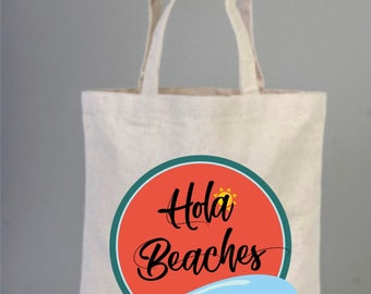 Hola Beaches Sunset Bag, Personalized Gift Bag, Wedding Gift Bag, Bachelorette Party Gift Bag, Bridesmaid Gift Bag, Custom Gift Bag, Tote