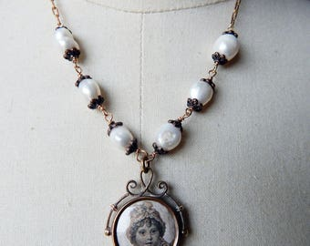 Antique Locket Pendant with Freshwater Pearls Wire Link Upstyled Necklace